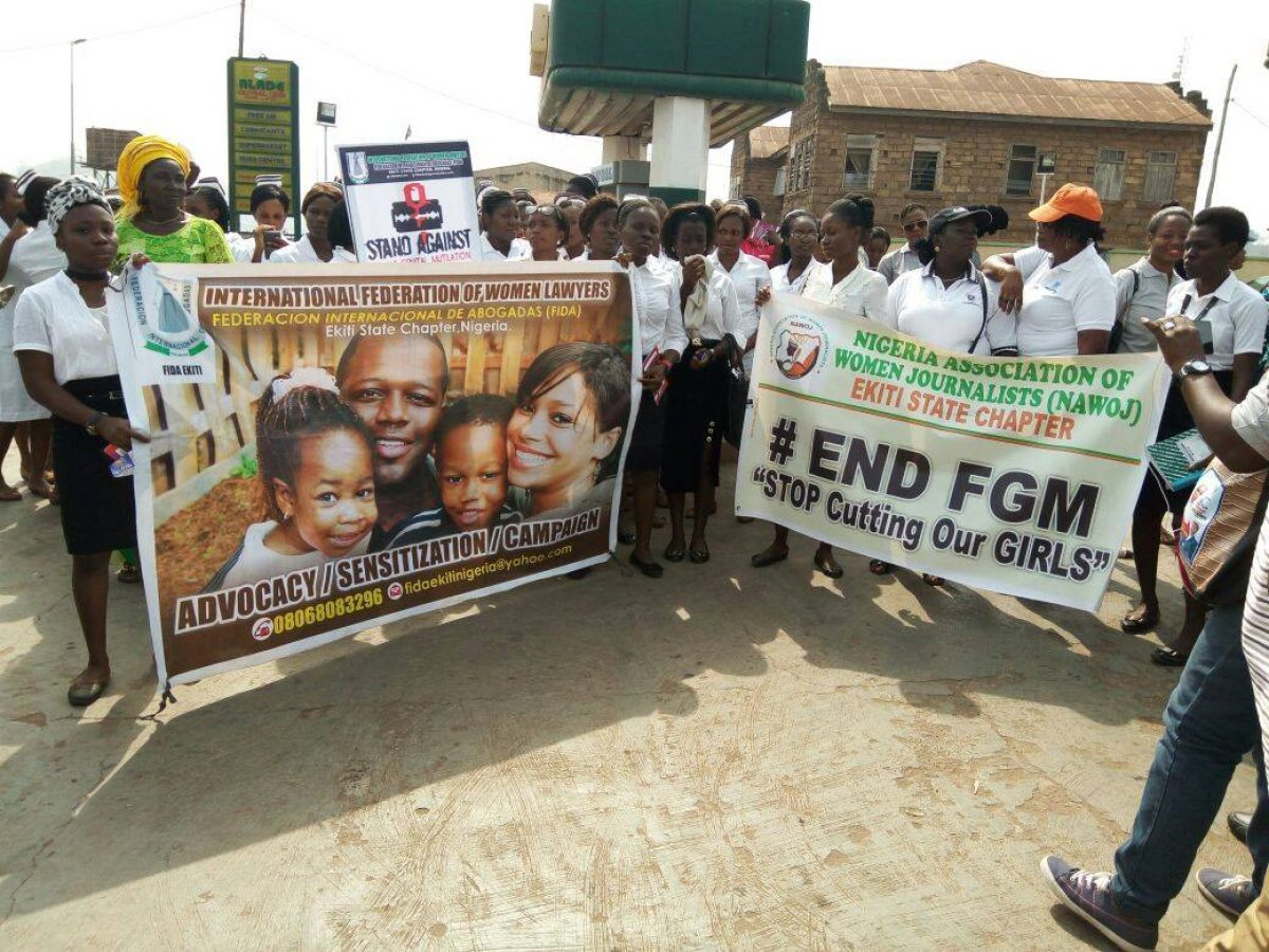 FIDA EKITI in partnership with NAWOJ led Road Walk Against Female Genital Mutilation today 6th February, 2017 along Odo-Ado axis of Ado-Ekiti, Ekiti State.
